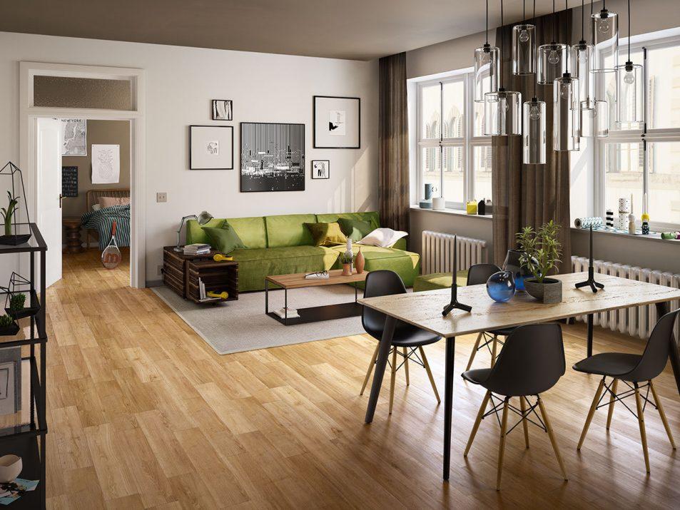 interno soggiorno con pavimento in pvc effetto legno - iperceramica